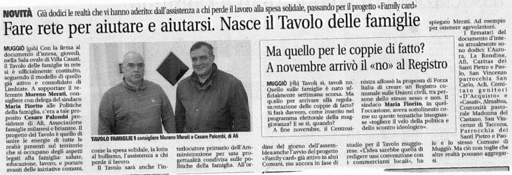 Aprile 2015 - Nasce il Tavolo Famiglie a Muggiò